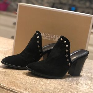 Michael Kors Louise Black Suede Slip On Mules 8.5